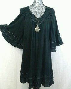 BOHEMIAN PEASANT GORGEOUS BELL ANGEL SLEEVES BLACK DRESS WITCH WICCA GOTHIC L #Roamans #Tunic #Cocktail