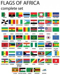 Pavilhões de África — Ilustração de Stock World Flags With Names, Flags Of The World, Countries And Flags, Countries Of The World, European Countries, World Country Flags, Africa Flag, German Language Learning, Out Of Africa
