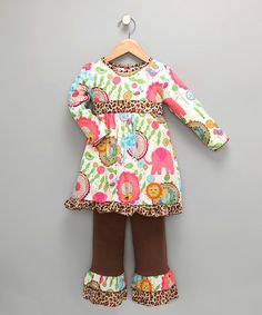 Look what I found on #zulily! Pink & Brown Zoo Tunic & Pants - Toddler & Girls by AnnLoren #zulilyfinds
