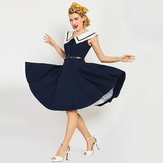 Sisjuly Women's Vintage Dress Sailor Collar Solid Dark Bule Sleeveless Knee-Length Rockabilly Vintage Dress Elegant Party Dress #Affiliate