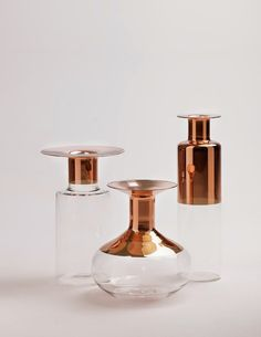 """Copper and Glass-Blown Vases by Giorgio Bonaguro  """"I tried to do a collection of vases with simple, archetypal shapes, but giving a modern taste, exaggerating the heads and emphasizing with colors like metals."""""""