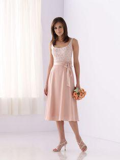 pink chiffon and lace bridesmaid dress