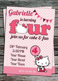 Hello Kitty Birthday Party Invitation Printable Digital File on Etsy, $11.95