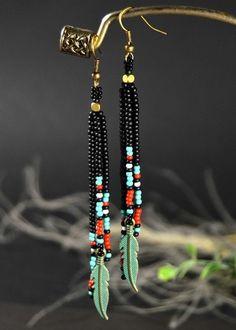 Long Fringe Earrings Native Beaded Earrings Feather by marisa