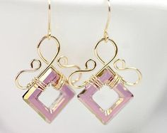 Swarovski Square and Gold Earrings