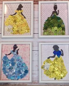 Princess Picture Girls Nursery Art Princess Button Picture Princess oom Princess Art Little Girls Room art Button Girls Nursery oom picture princess Disney Button Art, Disney Buttons, Nursery Art, Girl Nursery, Disney Diy Crafts, Disney Princess Crafts, Disney Princess Bedroom, Princess Room Decor, Princess Bedrooms