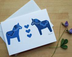 Swedish Dala Horse Notecard (Blank)