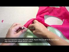 How to sew facings to the bodice around the armholes - YouTube