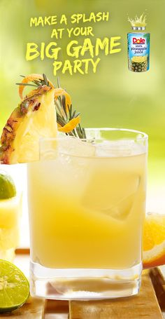 Aloha Screwdriver  Make sure your big game party  has some drinks worth cheering  about. Try this classic recipe  with a splash of 100%  DOLE® Canned Pineapple Juice. #KINGofJUICES