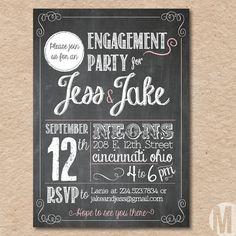 Engagement Party Invitation Custom Printable by MegCreativeDesign