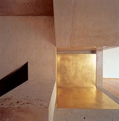 // Gion A. Caminada, Boarding School for Girls, Gymnasium Kloster, Disentis, Architecture Details, Interior Architecture, Interior And Exterior, Girls Boarding Schools, Deco Restaurant, Escalier Design, Gymnasium, Gold Walls, Light And Shadow