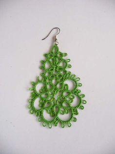 Tatting earrings Belief Handcrafted jewelry green by ShopGift