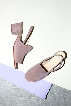 No.6 Linda Covered Heel in Mauve Suede