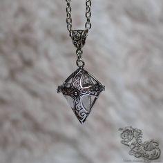 "Necklace ""Templier"" - Medieval, celtic, viking, renaissance, pagan, gothic locket with Quartz inside - North Shaman"