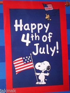 Peanuts Snoopy Happy 4th of July! Red~White~Blue! Large Flag with Woodstock! New - http://home-garden.goshoppins.com/holiday-seasonal-decor/peanuts-snoopy-happy-4th-of-july-redwhiteblue-large-flag-with-woodstock-new/