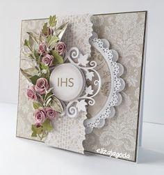 kartki z pudełkiem wykonany z najnowszej kolekcji papieru: WYŻSZE SFERY. ... Cool Cards, Diy Cards, First Communion Cards, Spellbinders Cards, Christian Cards, Paper Flower Tutorial, Quilling Cards, Fancy Fold Cards, Flower Cards