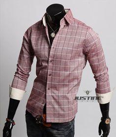mens clothes smart gray check shirt  S, M, L