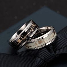 Luminous ECG Ring Stainless Steel Ring Promise Heartbeat Ring Glowing Jewelry for Men Women Heart Beat Ring, Heart Promise Rings, Promise Rings For Guys, Ring Set, Ring Ring, Gold Ring, Types Of Rings, Stainless Steel Rings, Engagement Jewelry