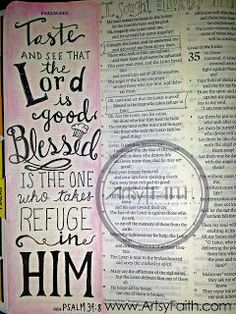 Artsy Faith   Psalm 34:8 FREE Online Bible Art Journaling 101 Class