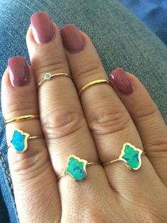 Beautiful Hamsa Ring with blue opal centerthis rind is one of a kind and truly stunninglimited size availability18k gold platedsterling silver 925