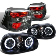 Spec-D Tuning For Volkswagen Golf Halo Projector Black Headlights + Tail Lights Brake Lamps (Left+Right) 1999 2000 2001 2002 2003 2004 2005 2006 Vw Golf Mk4, Volkswagen Golf, Vw Wagon, Golf 4, Vw Golf Variant, Projector Headlights, Car Gadgets, Black Lamps, Tail Light