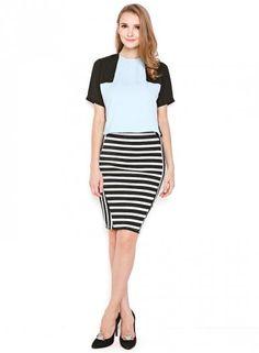 ual Naomi Stripe HighWaist Skirt, Black White | Rok Wanita Online Covering Story Rp 175.000
