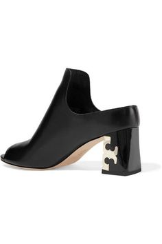 Tory Burch - Finley Leather Mules - Black - US10.5
