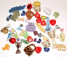 Lot of 51 Novelty Buttons Embellishments Shanks scrapbooking sewing crafts altered art by scrapitsideways, $5.10