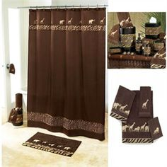 Leopard Shower Set | ... luxury shower curtains animal parade brown curtain and bath wallpaper