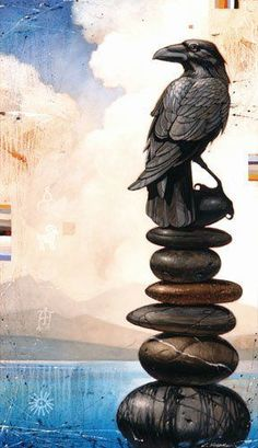 A Craig Kosak painting of a raven totem animal perched on a stack of stones