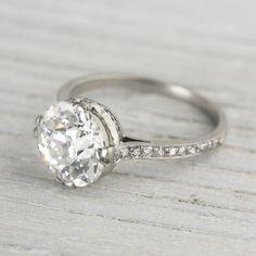 3.77 Carat Vintage Art Deco Engagement Ring   Erstwhile Jewelry Co. Circa 1920