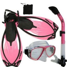 PROMATE Snorkeling Scuba Dive Mask Fins DRY Snorkel Gear Set. Need for Hawaii!!