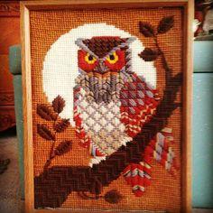Wonderful great job...!!  .Credit : @mylove4vintage -  Owls are always in season rad 1970s owl cross stitch headed to booth 87 . #owl #owls #owllove