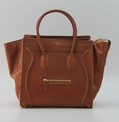 Celine Bags Boston Smile Leather Bags Brown