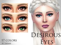 A new eye design that includes 17 colors both natural and unnatural. For both male and female sims of all ages and can be found in the usual 'eyes' category. Found in TSR Category 'Sims 4 Eye Colors'