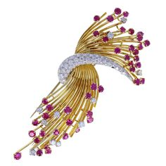 Kutchinsky Ruby Diamond Gold Spray Brooch   From a unique collection of vintage brooches at https://www.1stdibs.com/jewelry/brooches/brooches/