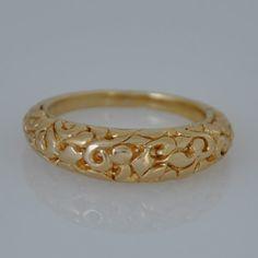 Yellow Gold Band  Gold Wedding Band  Fine by malkaravinajewelry