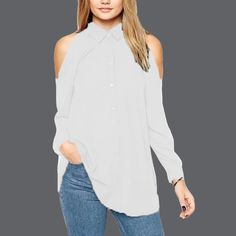 Plus Size  Women Turn Down Collar Blusas Femininas Long Sleeve Tops Shirt Sexy Off Shoulder Long Chiffon Blouse - White, M Like if you remember Visit our store