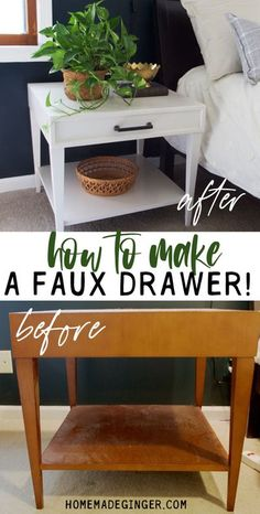 Update an old table by making a faux drawer! This is such an easy way to update an old bedside table! Diy Furniture Projects For Beginners, Diy Furniture Tutorials, Diy Furniture Hacks, Furniture Repair, Diy Home Decor Projects, Grown Up Bedroom, Side Table Makeover, Diy On A Budget, Diy Table