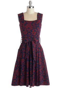 Guest of Honor Dress in Vines by Effie's Heart - Red, Blue, Floral, Pockets, Belted, Casual, A-line, Sleeveless, Better, Variation, Knit, Top Rated, Best Seller, Fall, Full-Size Run, Long
