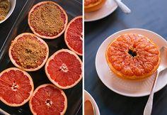 Broiled grapefruit with brown sugar.