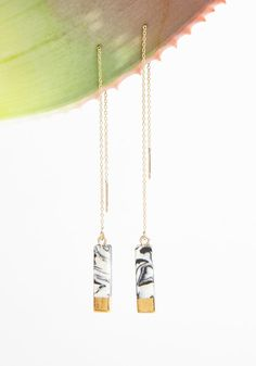 Marbled Ear Threader (Black White) – Earrings – Amour Vert