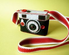 """Camera Camera Case with strap """"Tourist"""" Camera Art, Toy Camera, Photography Themes, Cute Little Things, Sewing Toys, Iphone Phone Cases, Fujifilm Instax Mini, Felt Flowers, Felt Crafts"""