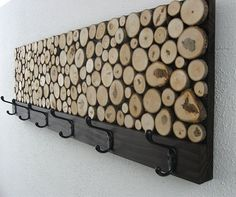 Maple Wood Slice Rustic Coat Rack. Handmade by ModernRusticArt, Etsy. - Click image to find more DIY & Crafts Pinterest pins