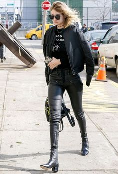 Celebrities In Leather: Gigi Hadid wears black leather pants