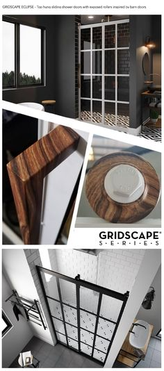 THE GRIDSCAPE® ECLIPSE International Patents Pending #scandinaviandesign #farmhousestyle #bathroomdesign #bathroomideas #industrialchic #industrialdecor #modernfarmhouse #gridscape #barndoors #scandi # The Gridscape Eclipse Shower Door is designed with visible rollers, one of the hottest trends in bathroom design. This fully customizable barn door gets its name from the smooth gliding panel hanging from wood grain finish rollers.