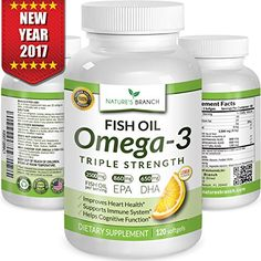 Best Triple Strength Omega 3 Fish Oil Pills Burpless High Potency Lemon Flavor - EPA DHA Ultra Pure Liquid Softgels 120 Capsules for Brain Joints Eyes Hair Heart Health Supplement Best Omega 3 Supplements, Heart Health Supplements, Supplements For Anxiety, Natural Supplements, Nutritional Supplements, Best Fish Oil, Omega 3 Fish Oil, Essential Fatty Acids, Vitamins