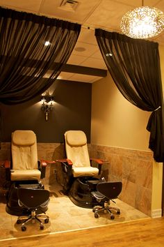 Kimi K. Salon & Spa. Love the curtains for some privacy!