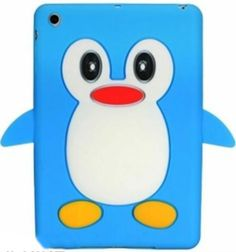 """Amazon.com: Azure Blue {Cute Penguin} Soft and Smooth Silicone Cute 3D Fitted Bumper Back Cover Gel Case for iPad Mini 1, 2 and 3 by Apple """"Durable and Slim Flexible Fashion Cover with Amazing Design"""": Computers & Accessories"""