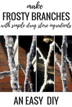 DIY FROSTY BRANCHES using simple drug store ingredients To buy decorative frosty or icy branches in the store can be very expensive. They're actually quite easy to make on your own using epsom salt, glitter and glue. Check out this easy tutorial. Christmas Centerpieces, Xmas Decorations, Centerpiece Ideas, Arctic Decorations, Pinecone Centerpiece, Frozen Decorations, Simple Centerpieces, Christmas Tables, Decoration Party